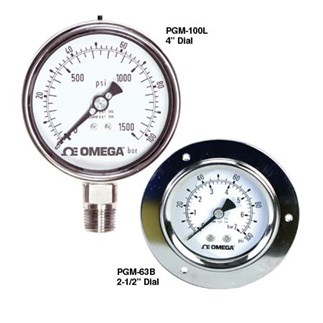 "Stainless Steel, Liquid-Fillable, Industrial Pressure Gauges 2½ and 4"" Dial Sizes - OMEGA"